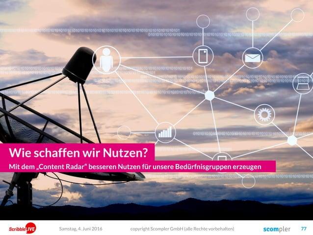 """copyright Scompler GmbH (alle Rechte vorbehalten) 77 Wie schaffen wir Nutzen? Mit dem """"Content Radar"""" besseren Nutzen für ..."""