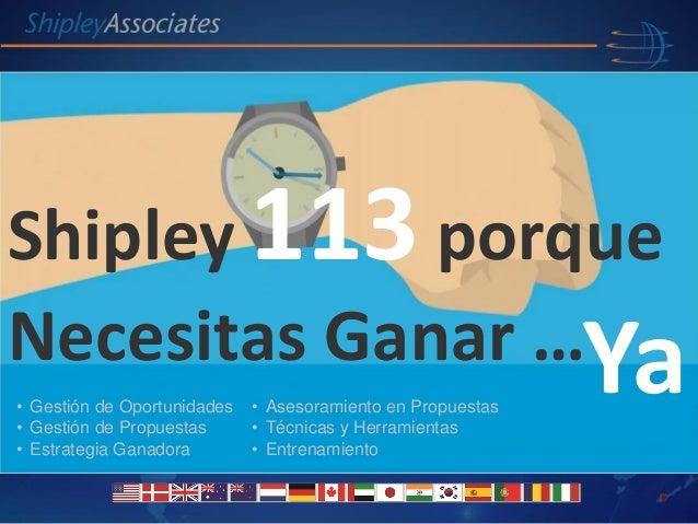 Shipley Associates Lideres en Desarrollo de Negocio Global Spain Shipley 113 porque Necesitas Ganar …Ya• Gestión de Oportu...