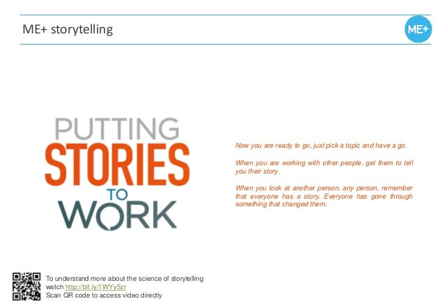 ME+ storytelling Now you are ready to go, just pick a topic and have a go. When you are working with other people, get the...