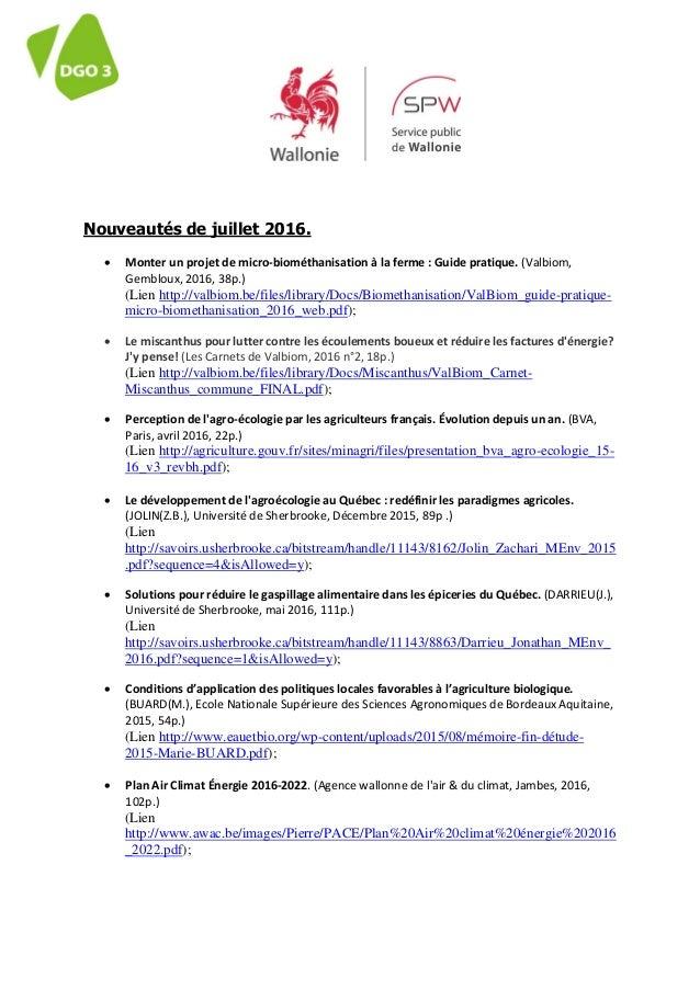Nouveautés de juillet 2016.  Monter un projet de micro-biométhanisation à la ferme : Guide pratique. (Valbiom, Gembloux, ...