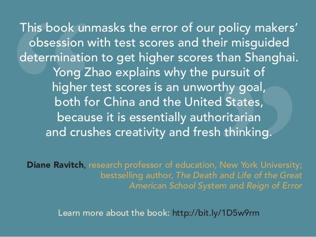 """"""" """" This book unmasks the error of our policy makers' obsession with test scores and their misguided determination to get ..."""