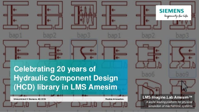 Celebrating 20 years of Hydraulic Component Design (HCD) library in LMS Amesim Realize innovation.Unrestricted © Siemens A...