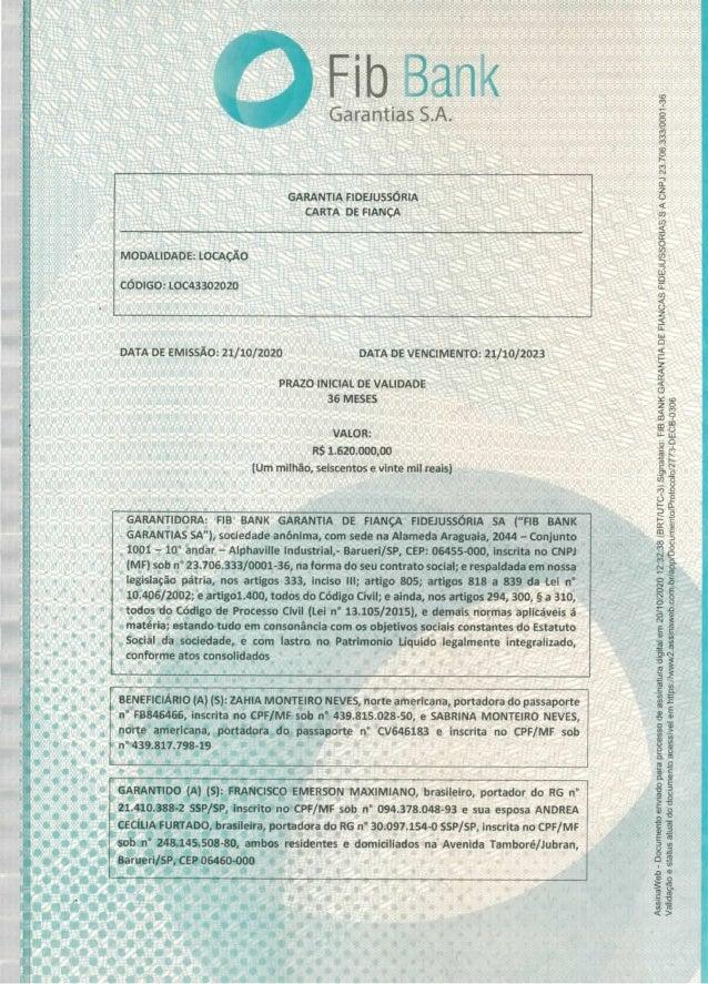 Carta de fiança do apartamento alocado por Franscico Maximiano