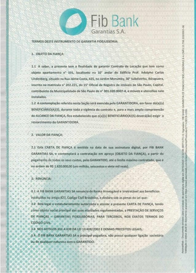 Carta de fiança do apartamento alocado por Franscico Maximiano Slide 2