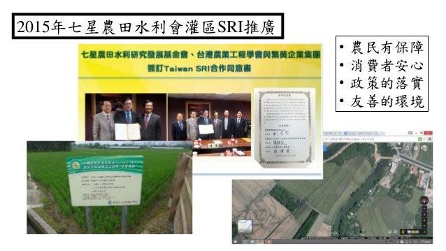 2015年七星農田水利會灌區SRI推廣 • 農民有保障 • 消費者安心 • 政策的落實 • 友善的環境