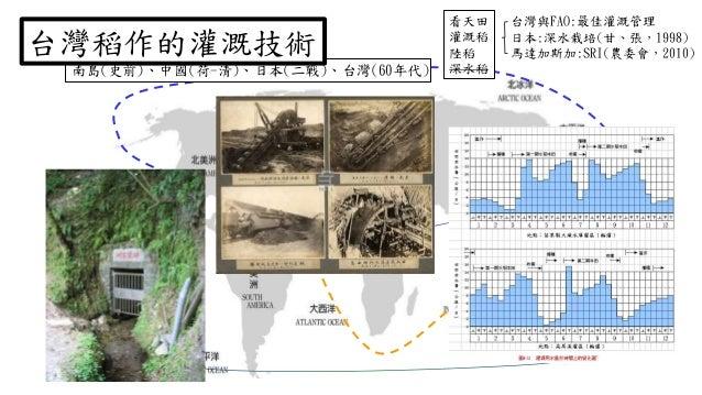 黄河 台灣與FAO:最佳灌溉管理 日本:深水栽培(甘、張,1998) 馬達加斯加:SRI(農委會,2010) 看天田 灌溉稻 陸稻 深水稻南島(史前)、中國(荷-清)、日本(二戰)、台灣(60年代) 台灣稻作的灌溉技術