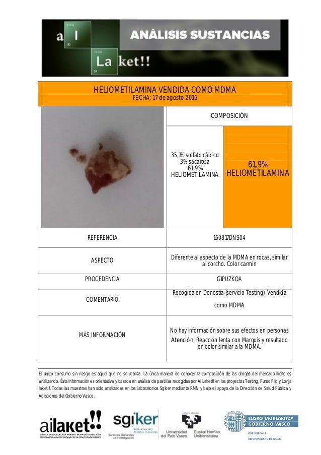 HELIOMETILAMINA VENDIDA COMO MDMA FECHA: 17 de agosto 2016 COMPOSICIÓN 35,1% sulfato cálcico 3% sacarosa 61,9% HELIOMETILA...
