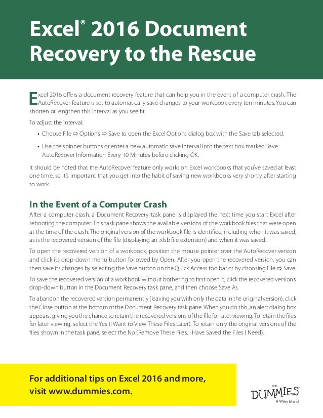 Excel Document Recovery to the Rescue Slide 2