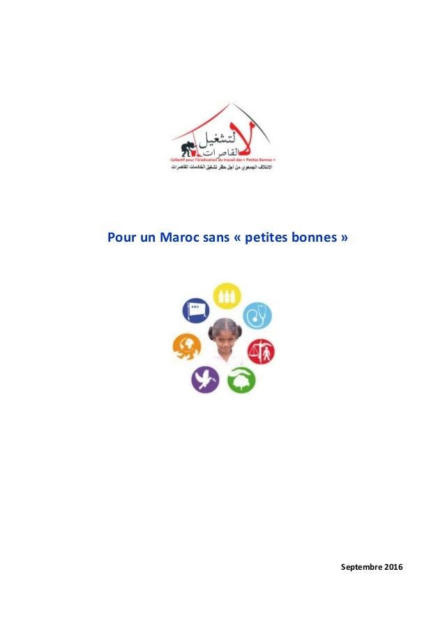 Pour un Maroc sans « petites bonnes » Septembre 2016