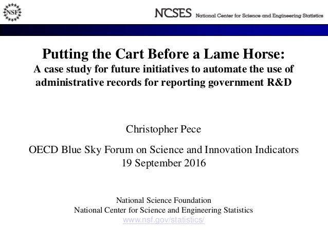 Putting the Cart Before a Lame Horse: A case study for future initiatives to automate the use of administrative records fo...