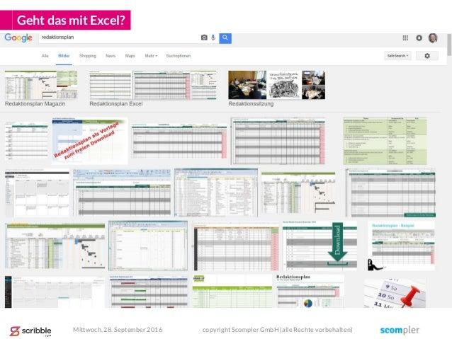 Geht das mit Excel? Mittwoch, 28. September 2016 copyright Scompler GmbH (alle Rechte vorbehalten)