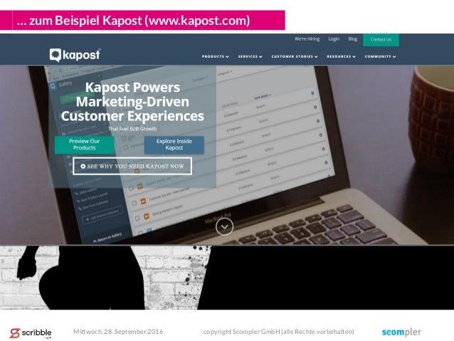 … zum Beispiel Kapost (www.kapost.com) Mittwoch, 28. September 2016 copyright Scompler GmbH (alle Rechte vorbehalten)