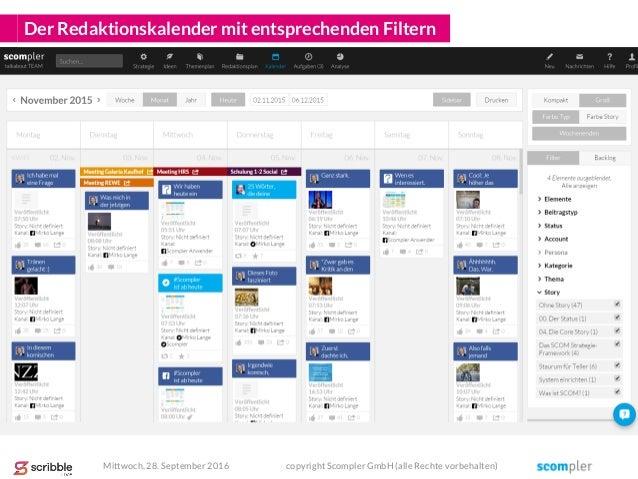 Der Redaktionskalender mit entsprechenden Filtern Mittwoch, 28. September 2016 copyright Scompler GmbH (alle Rechte vorbeh...