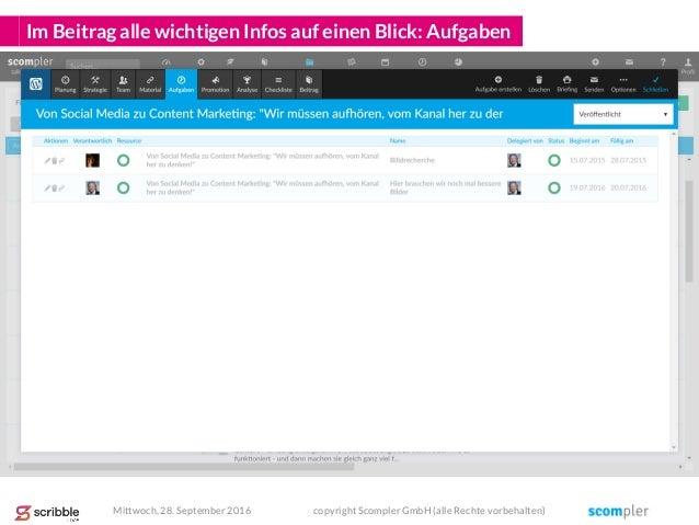 Im Beitrag alle wichtigen Infos auf einen Blick: Aufgaben Mittwoch, 28. September 2016 copyright Scompler GmbH (alle Recht...