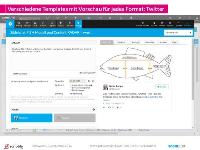 Verschiedene Templates mit Vorschau für jedes Format: Twitter Mittwoch, 28. September 2016 copyright Scompler GmbH (alle R...