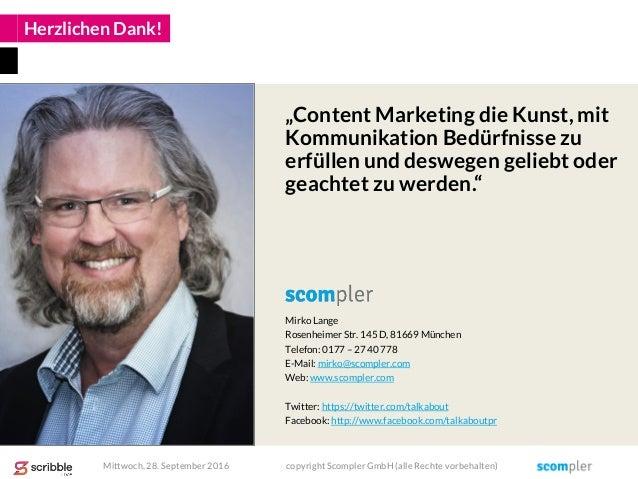 Herzlichen Dank! Mirko Lange Rosenheimer Str. 145 D, 81669 München Telefon: 0177 – 27 40 778 E-Mail: mirko@scompler.com We...