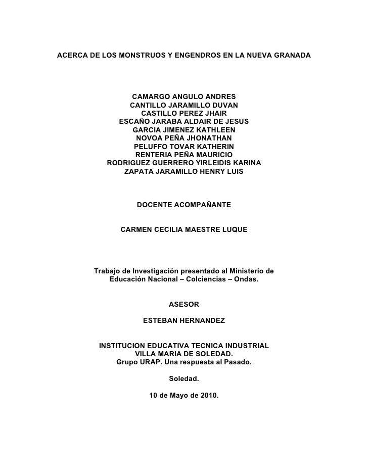 ACERCA DE LOS MONSTRUOS Y ENGENDROS EN LA NUEVA GRANADA                    CAMARGO ANGULO ANDRES                CANTILLO J...