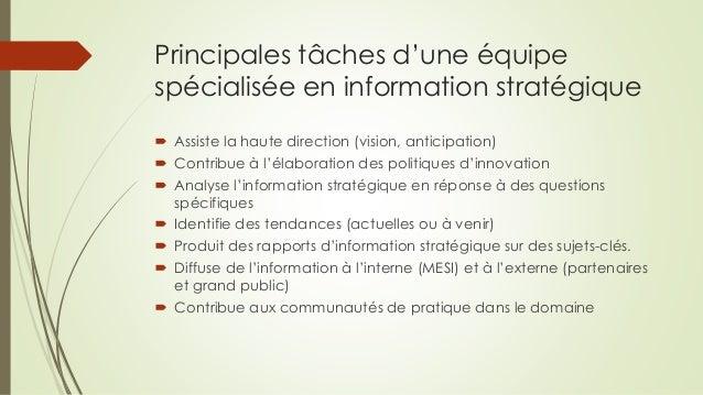 Principales tâches d'une équipe spécialisée en information stratégique  Assiste la haute direction (vision, anticipation)...