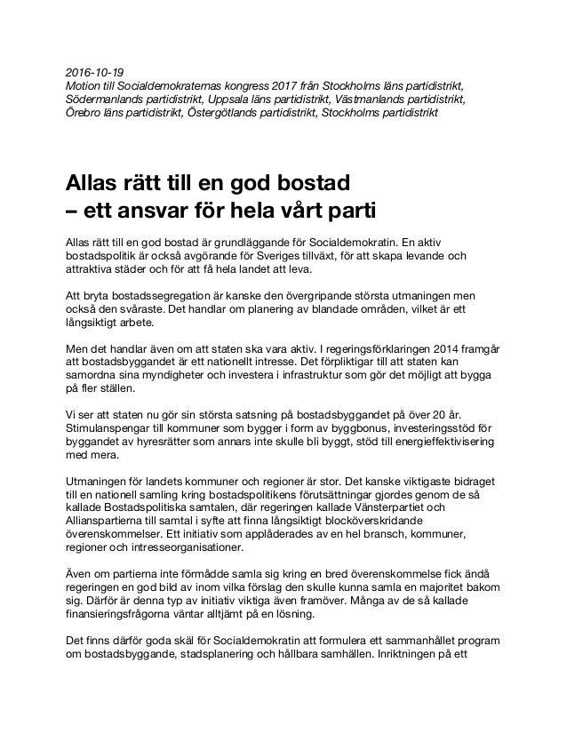 2016-10-19 Motion till Socialdemokraternas kongress 2017 från Stockholms läns partidistrikt, Södermanlands partidistrikt, ...