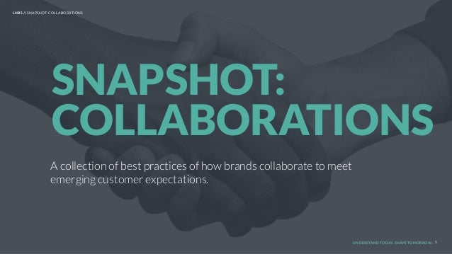 UNDERSTAND TODAY. SHAPE TOMORROW. A collection of best practices of how brands collaborate to meet emerging customer expec...