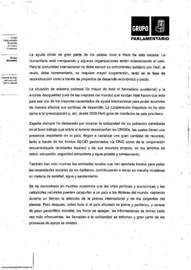 Grupo Parlamentario Socialista de Cortes Generales Grupo Socialista Carrera de San Jerónimo, 40 28014 Madrid PARLAMENTARIO...