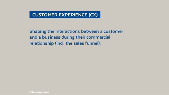 @BennoLoewenberg  CUSTOMER EXPERIENCE (CX) Shaping the interactions between a customer and a business during their comme...