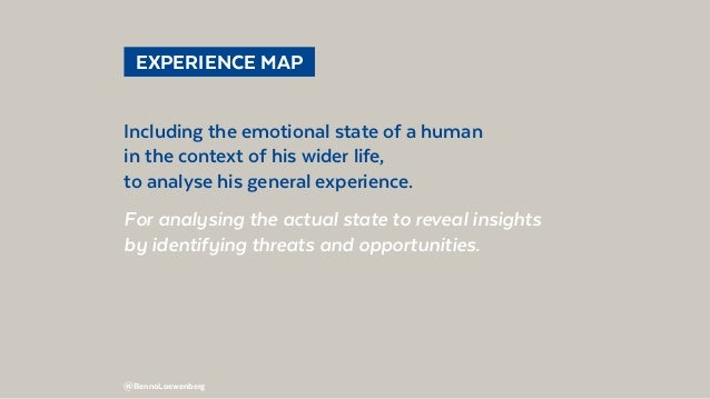 @BennoLoewenberg  EXPERIENCE MAP Including the emotional state of a human in the context of his wider life, to analyse h...
