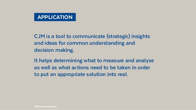 @BennoLoewenberg APPLICATION CJM is a tool to communicate (strategic) insights and ideas for common understanding and de...