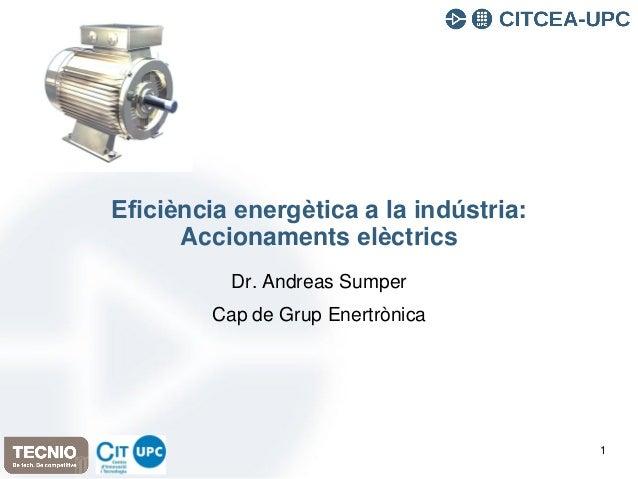 Eficiència energètica a la indústria: Accionaments elèctrics Dr. Andreas Sumper Cap de Grup Enertrònica 1