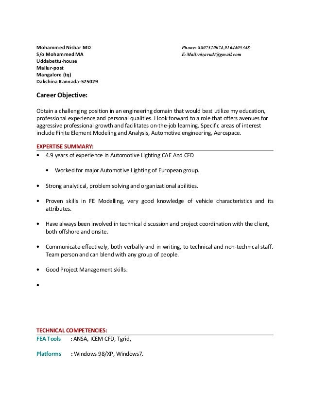 Resume of Mohaammed Nishar with 4.10yr ANSA exp