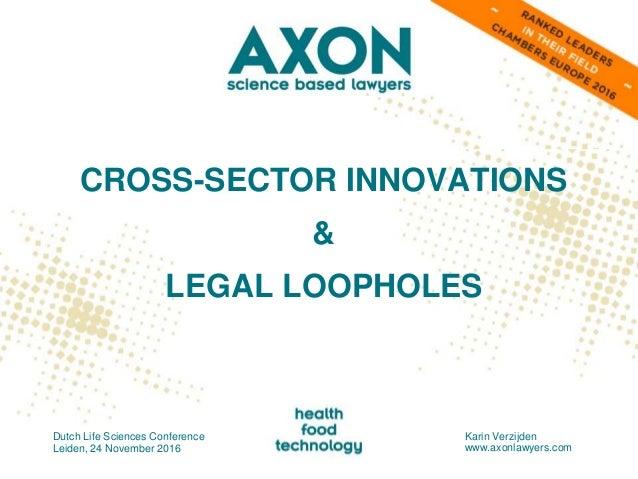 CROSS-SECTOR INNOVATIONS & LEGAL LOOPHOLES Dutch Life Sciences Conference Leiden, 24 November 2016 Karin Verzijden www.axo...