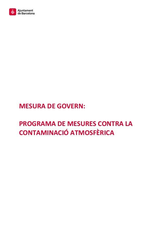 MESURA DE GOVERN: PROGRAMA DE MESURES CONTRA LA CONTAMINACIÓ ATMOSFÈRICA