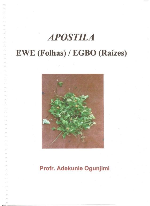 · APOSTILA EWE (Folhas) / EGBO (Raizes) Profr. Adekunle Ogunjimi