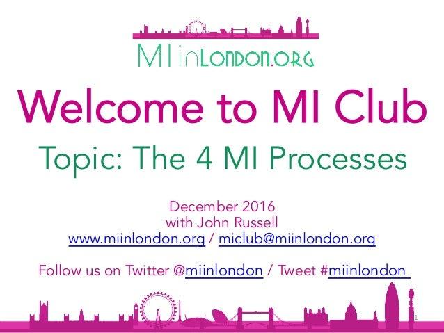December 2016 with John Russell www.miinlondon.org / miclub@miinlondon.org Follow us on Twitter @miinlondon / Tweet #miinl...