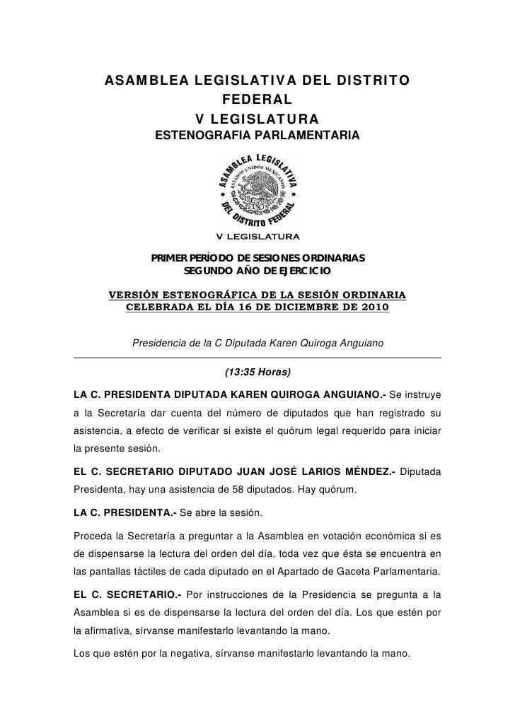 ASAMBLEA LEGISLATIVA DEL DISTRITO                  FEDERAL               V LEGISLATURA                  ESTENOGRAFIA PARLA...
