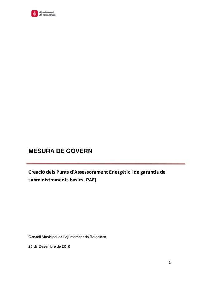 1 MESURA DE GOVERN Creació dels Punts d'Assessorament Energètic i de garantia de subministraments bàsics (PAE) Consell Mun...