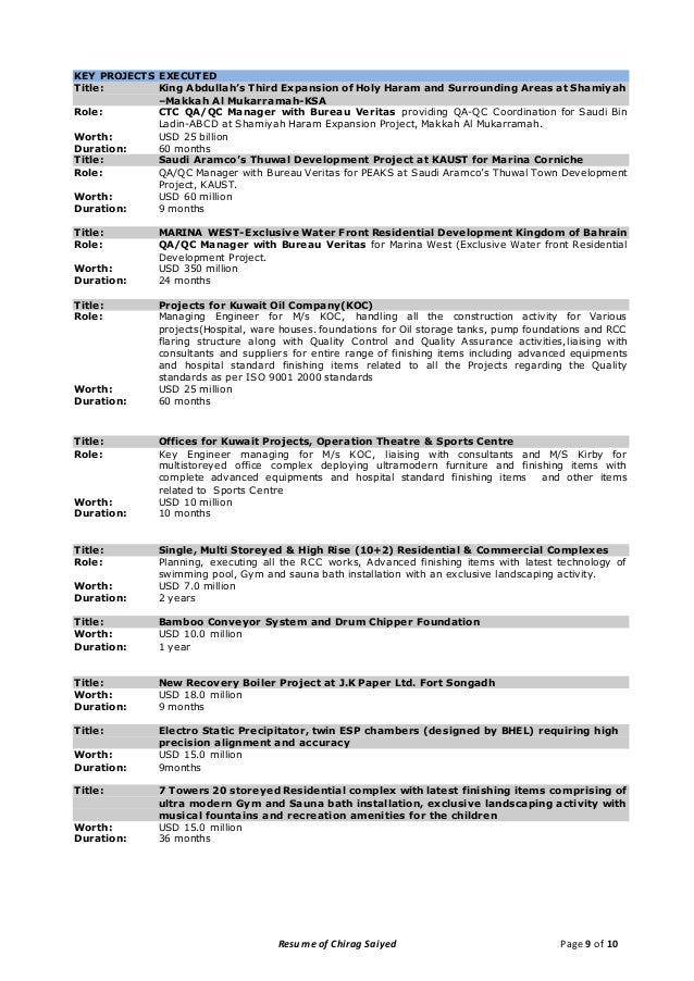 Resume of Chirag Saiyed Page 9 of 10 KEY ...