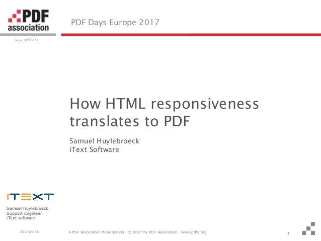 A PDF Association Presentation · © 2017 by PDF Association · www.pdfa.org www.pdfa.org 2017-05-15 Samuel Huylebroeck, Supp...