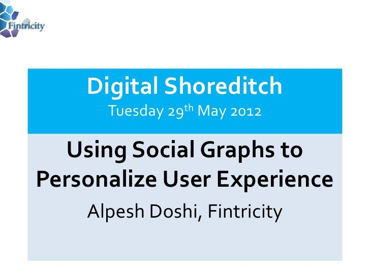 Digital Shoreditch      Tuesday 29th May 2012  Using Social Graphs toPersonalize User Experience    Alpesh Doshi, Fintricity