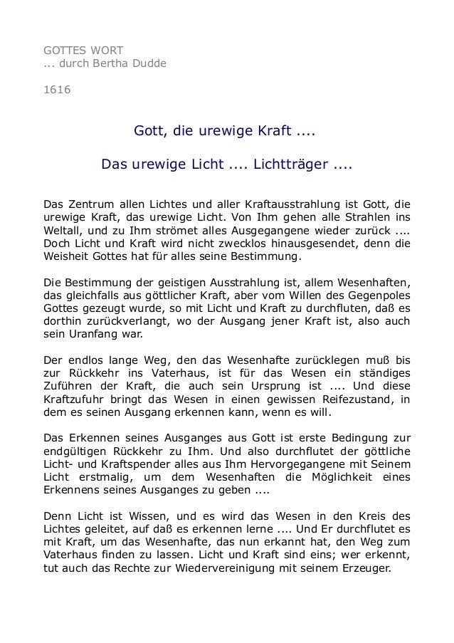 GOTTES WORT ... durch Bertha Dudde 1616 Gott, die urewige Kraft .... Das urewige Licht .... Lichtträger .... Das Zentrum a...