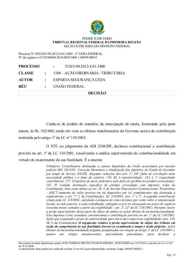 PODER JUDICIÁRIO  TRIBUNAL REGIONAL FEDERAL DA PRIMEIRA REGIÃO  SEÇÃO JUDICIÁRIA DO DISTRITO FEDERAL  Processo N° 0033265-...