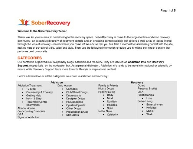 Page 1 of 5 Welcome to the SoberRecovery Team! Thank you for your interest in contributing to the recovery space. SoberRec...