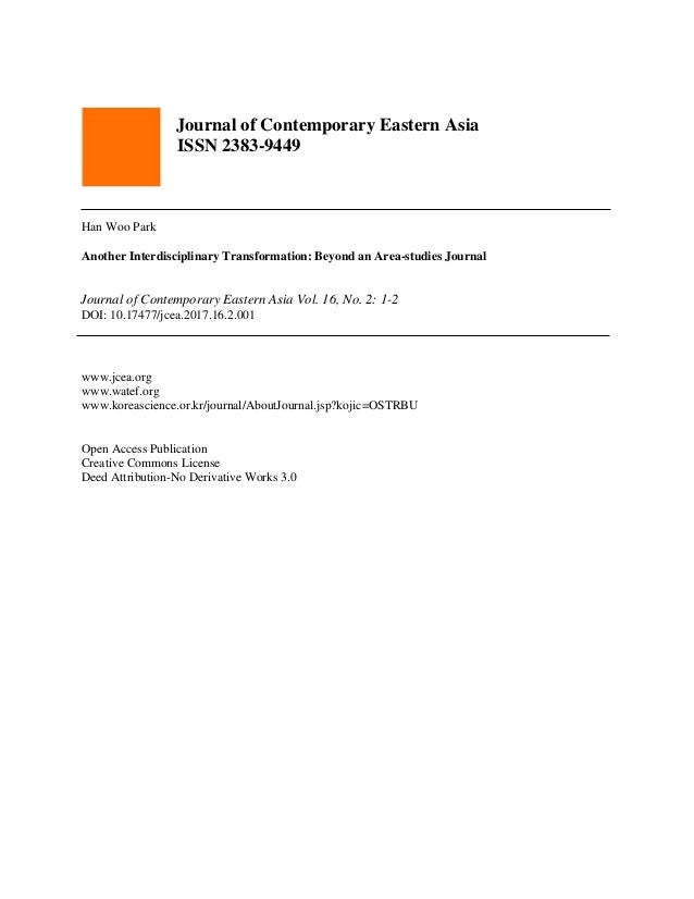 Journal of Contemporary Eastern Asia ISSN 2383-9449 Han Woo Park Another Interdisciplinary Transformation: Beyond an Area-...