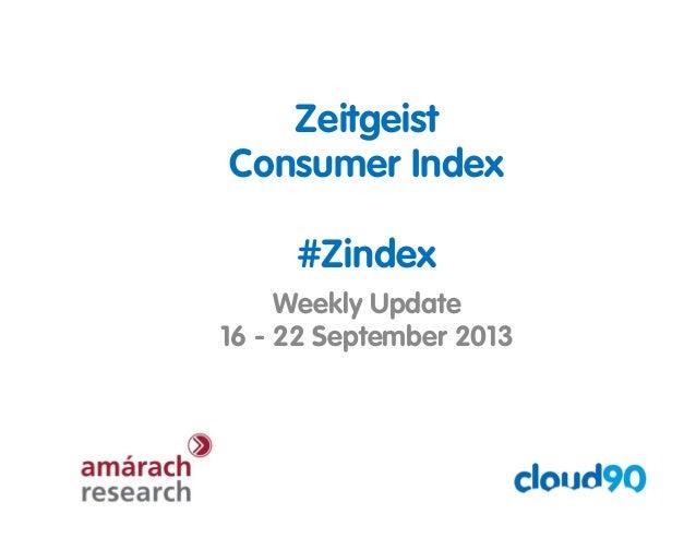Zeitgeist Consumer Index #Zindex Weekly Update 16 - 22 September 2013