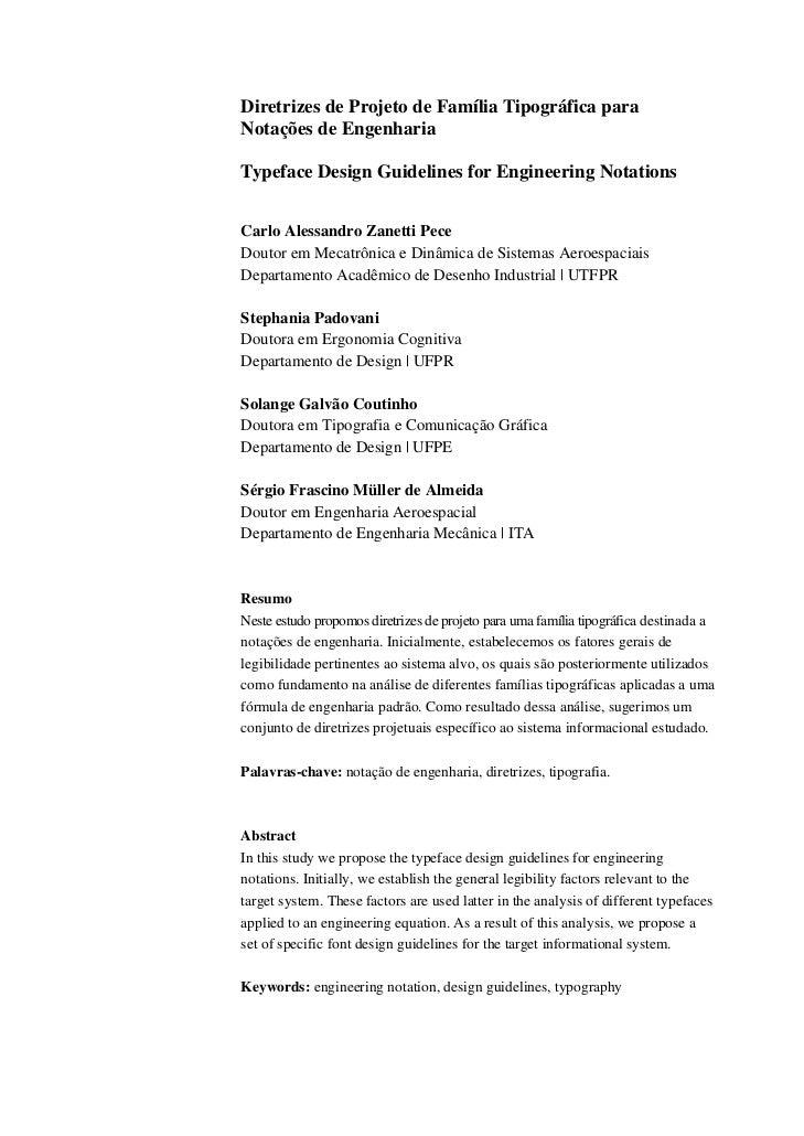 Diretrizes de Projeto de Família Tipográfica paraNotações de EngenhariaTypeface Design Guidelines for Engineering Notation...