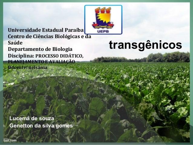 Universidade Estadual ParaíbaCentro de Ciências Biológicas e daSaúdeDepartamento de Biologia             transgênicosDisci...