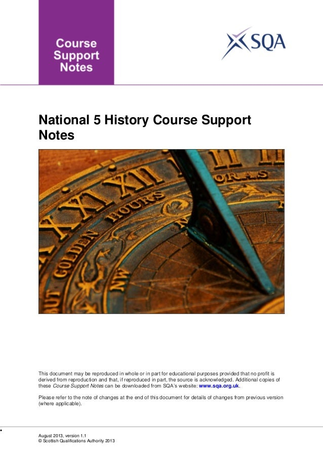 National 5 History Course Support Notes  This document may be reproduced in whole or in part for educational purposes prov...