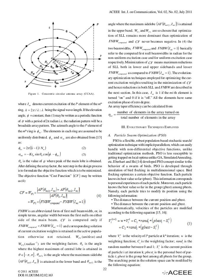 particle swarm optimization of antenna arrays Bio-inspiredoptimizationalgorithms forsmartantennas  antenna arrays using particle swarm optimization  of optimization methods for antenna arrays.