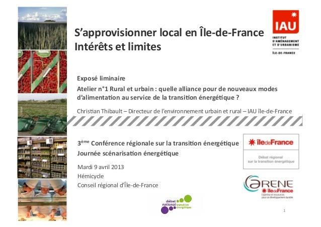 Analyse fonctionnelle des espacesouverts - ORF 26 06 2012-‐ – Exposé liminaire Atelier n°1 Rural et urbai...