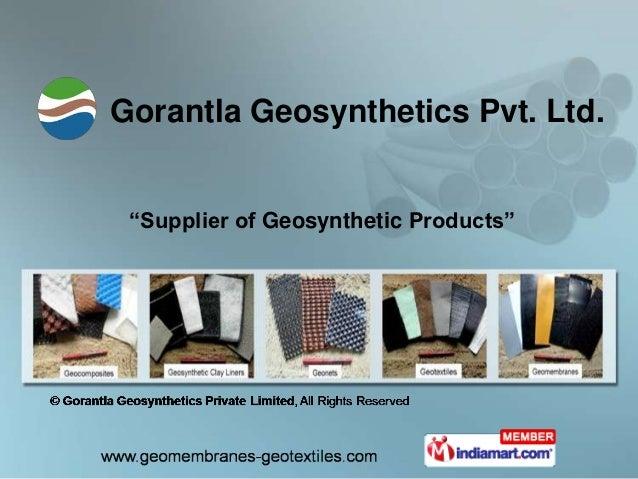 "Gorantla Geosynthetics Pvt. Ltd. ""Supplier of Geosynthetic Products"""